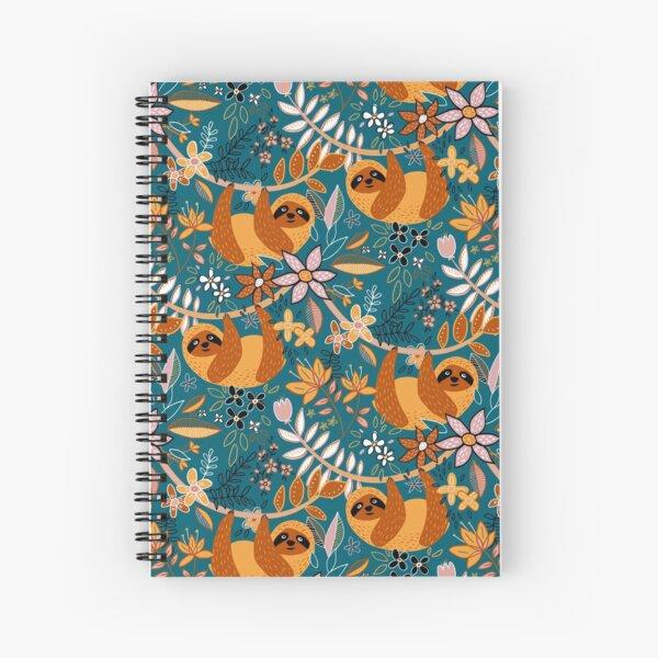 Happy Boho Sloth Floral  Spiral Notebook