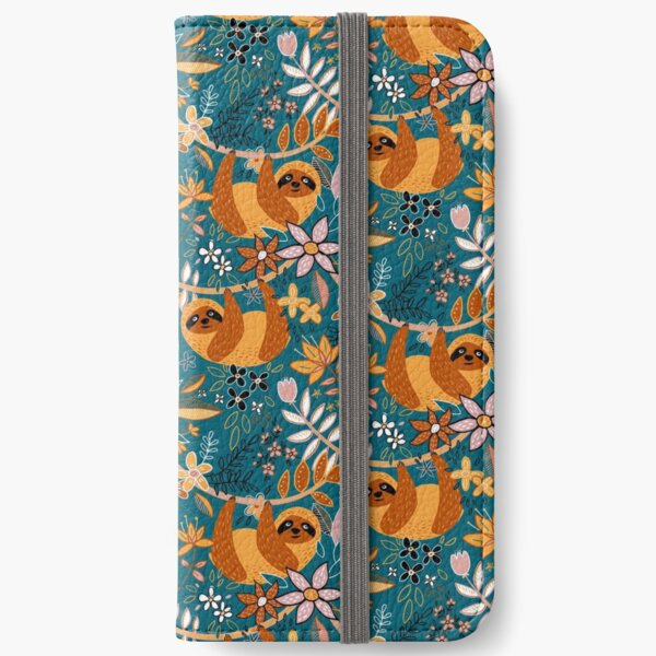 Happy Boho Sloth Floral  iPhone Wallet