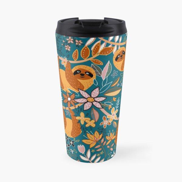 Happy Boho Sloth Floral  Travel Mug