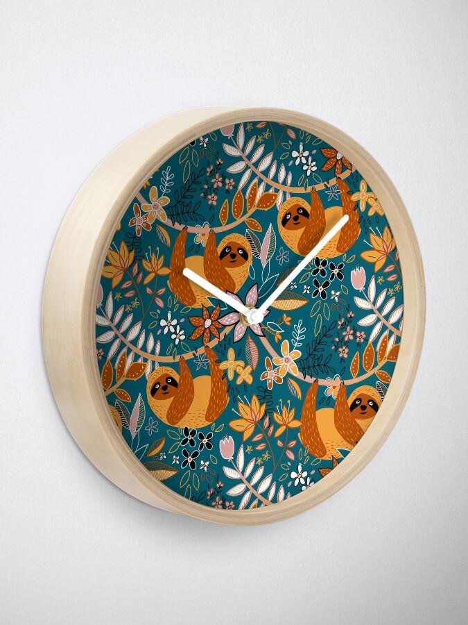 Alternate view of Happy Boho Sloth Floral  Clock
