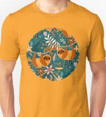 Glückliches Boho-Faultier mit Blumen Unisex T-Shirt