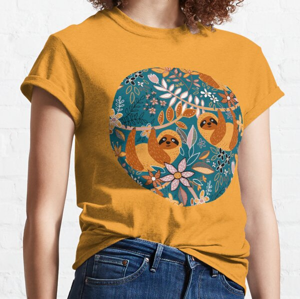 Happy Boho Sloth Floral  Classic T-Shirt