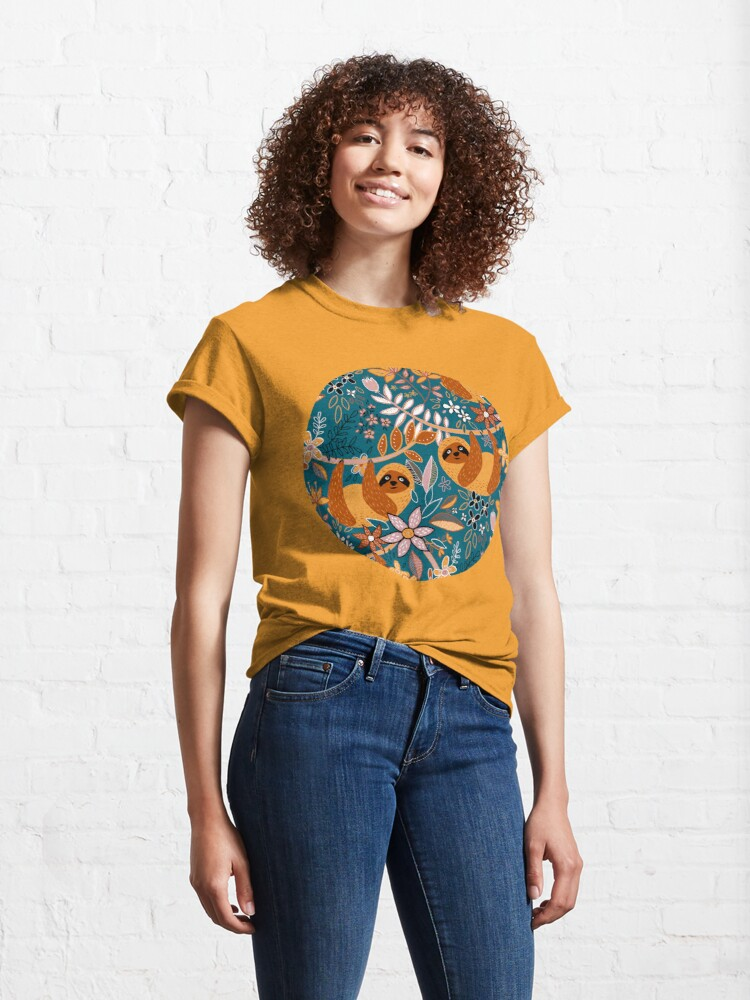 Alternate view of Happy Boho Sloth Floral  Classic T-Shirt