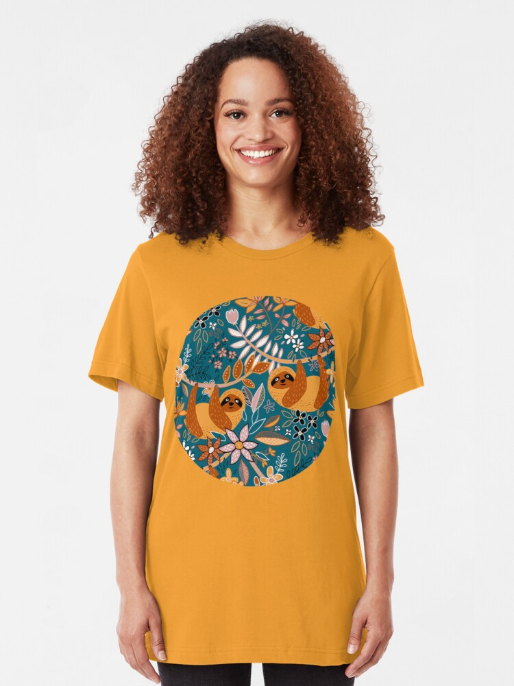 Alternate view of Happy Boho Sloth Floral  Slim Fit T-Shirt