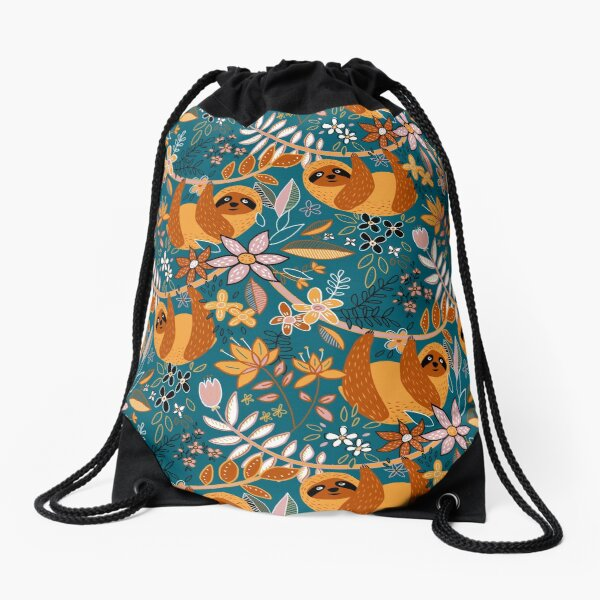 Happy Boho Sloth Floral  Drawstring Bag