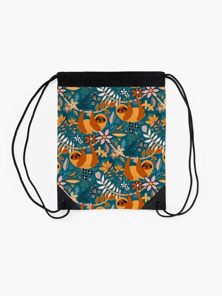Alternate view of Happy Boho Sloth Floral  Drawstring Bag