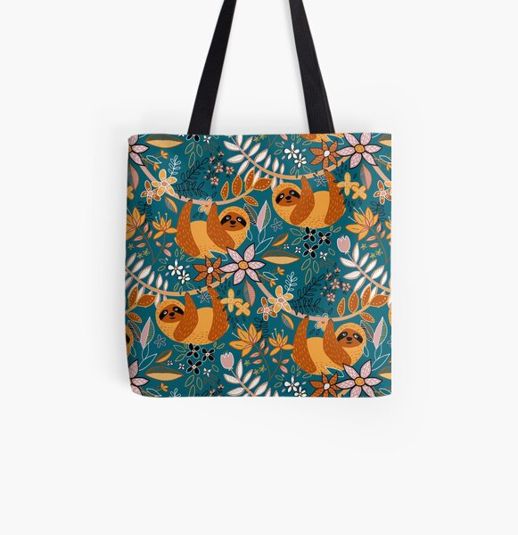 Happy Boho Sloth Floral  All Over Print Tote Bag