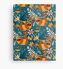 Happy Boho Sloth Floral  Metal Print