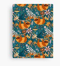 Glückliches Boho-Faultier mit Blumen Leinwanddruck