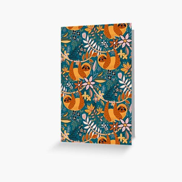Happy Boho Sloth Floral  Greeting Card