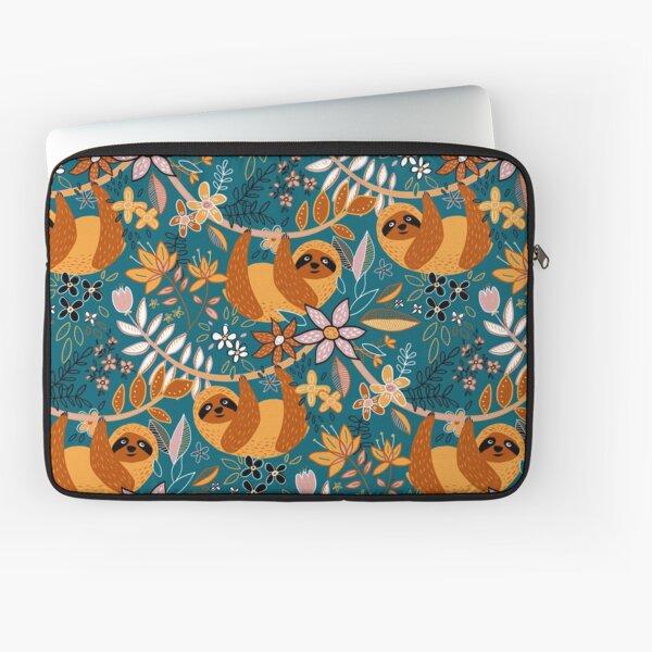 Happy Boho Sloth Floral  Laptop Sleeve