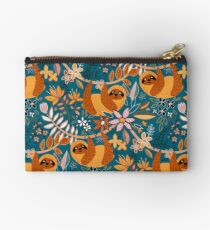 Happy Boho Sloth Floral  Studio Pouch