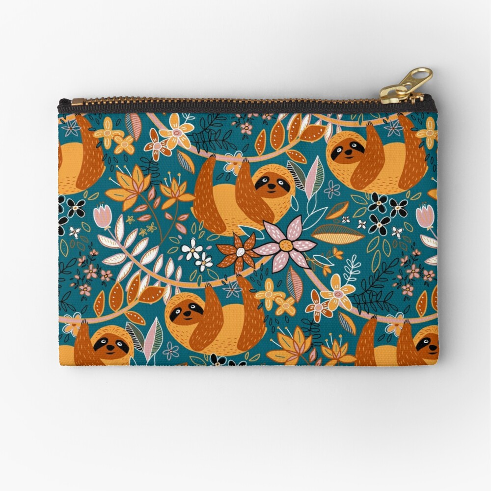 Happy Boho Sloth Floral  Zipper Pouch