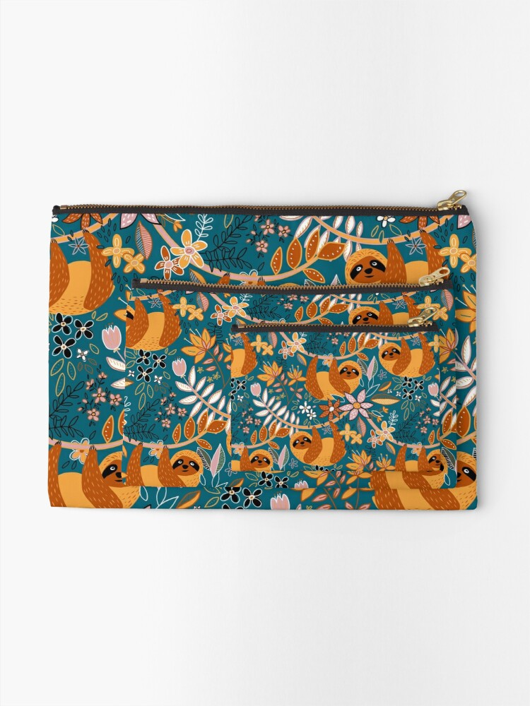 Alternate view of Happy Boho Sloth Floral  Zipper Pouch