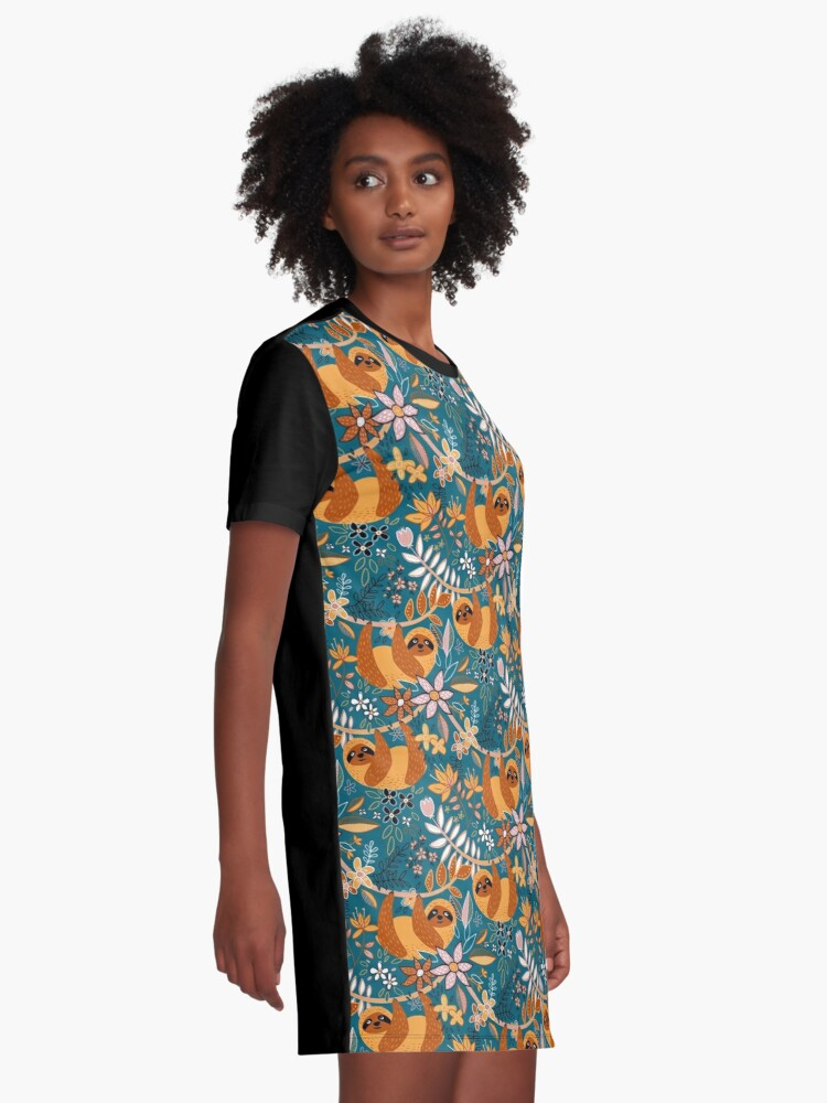 Alternate view of Happy Boho Sloth Floral  Graphic T-Shirt Dress