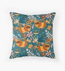 Happy Boho Sloth Floral  Floor Pillow