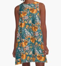 Happy Boho Sloth Floral  A-Line Dress