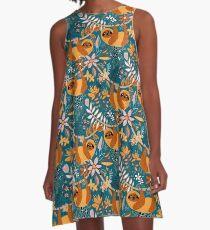 Glückliches Boho-Faultier mit Blumen A-Linien Kleid