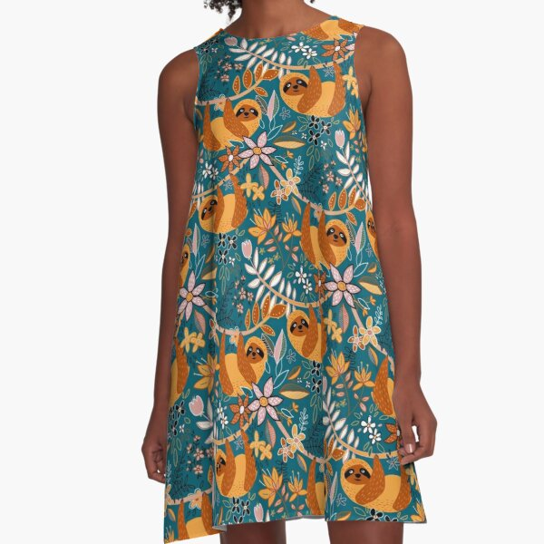 Happy Boho Sloth Floral  A-Line Dress