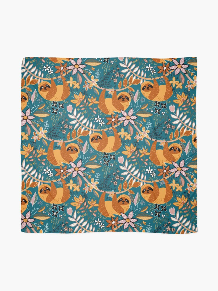 Alternate view of Happy Boho Sloth Floral  Scarf