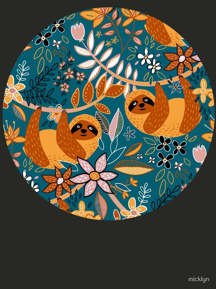 Happy Boho Sloth Floral  by micklyn