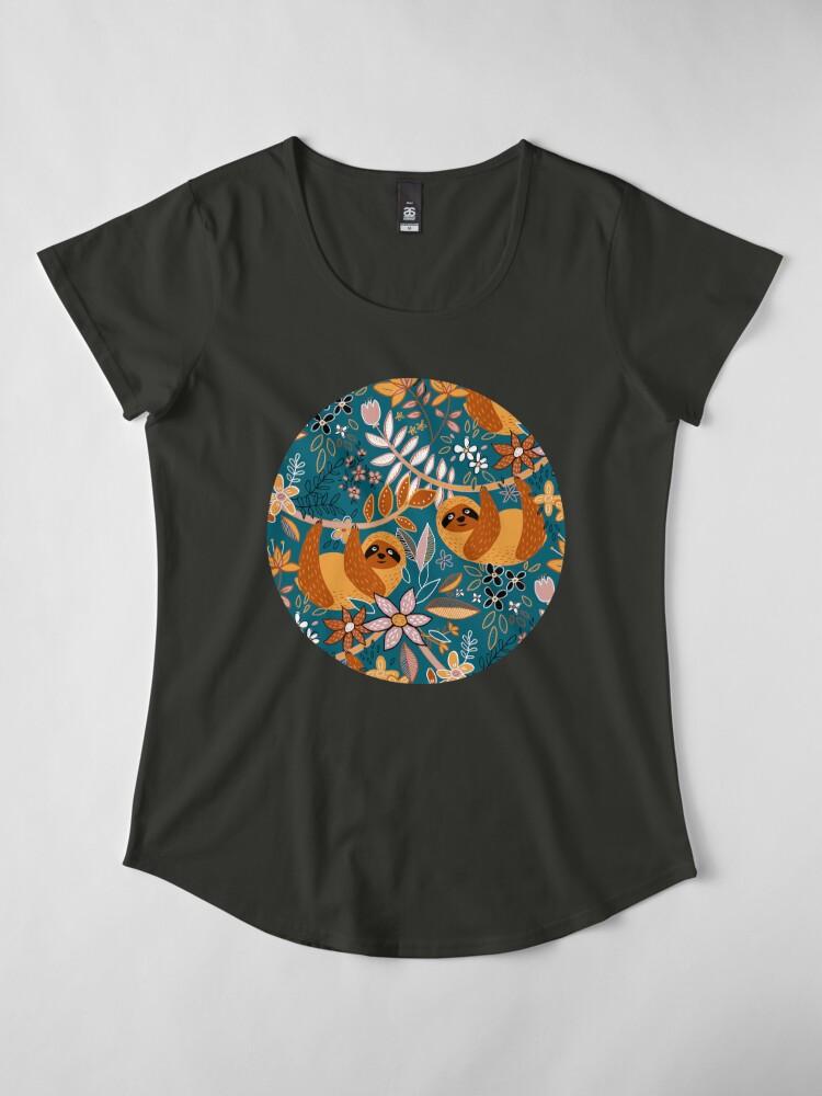 Alternate view of Happy Boho Sloth Floral  Premium Scoop T-Shirt