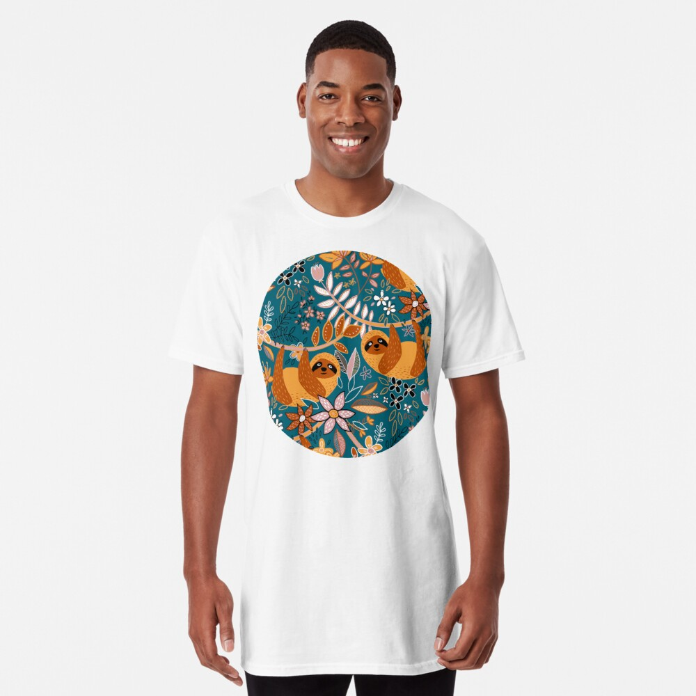 Happy Boho Sloth Floral  Long T-Shirt