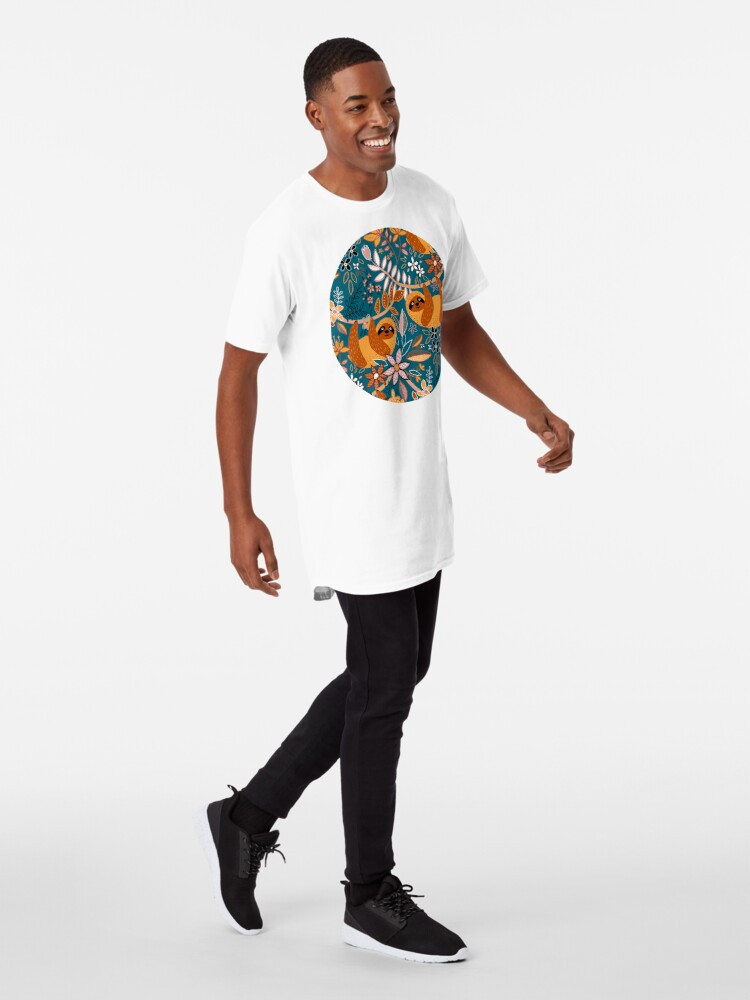 Alternate view of Happy Boho Sloth Floral  Long T-Shirt
