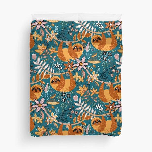 Happy Boho Sloth Floral  Duvet Cover