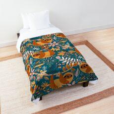 Happy Boho Sloth Floral  Comforter
