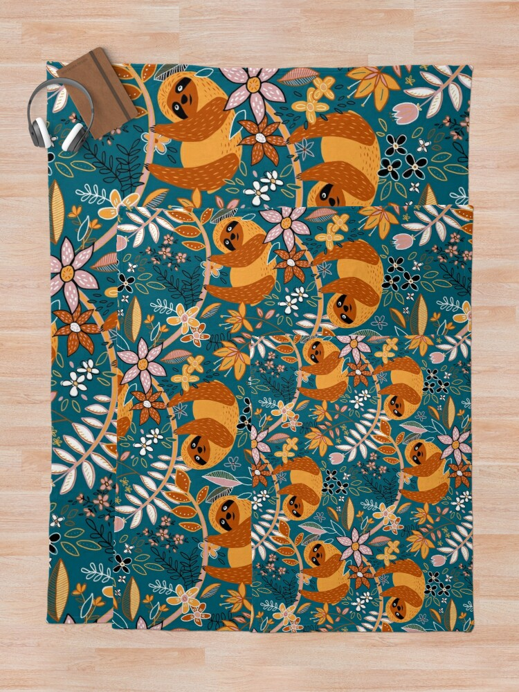 Alternate view of Happy Boho Sloth Floral  Throw Blanket