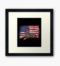 Doberman Pinscher Dog USA American Flag Framed Print