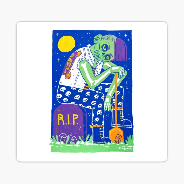 Zombie Girl Halloween Ghoul Sticker