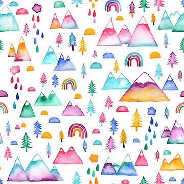 Watercolour Mountains by emmaallardsmith