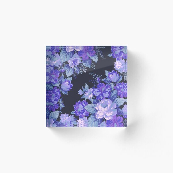 Midnight Floral Pattern Acrylic Block