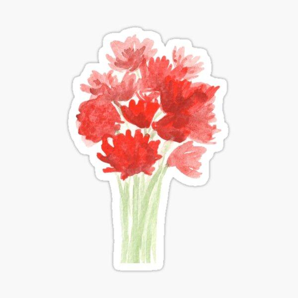 Red Azalea Flower Bouquet original watercolor painting Sticker