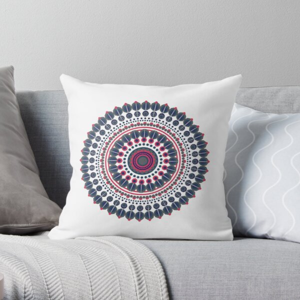 Mandala-  Blue and Red Throw Pillow