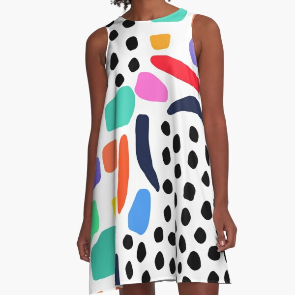 Memphis Style Shapes and Dots, Terrazzo Shapes A-Line Dress