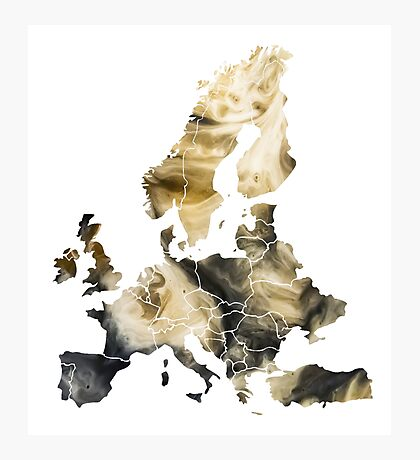 Europe Map brown Photographic Print