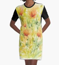 Fiery Flowers Field  Graphic T-Shirt Dress