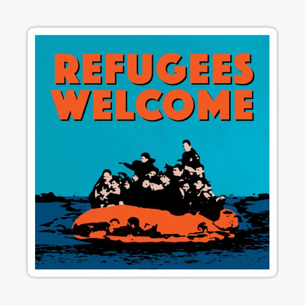 REFUGEES WELCOME - COLOURFUL ILLUSTRATION SHOWING REFUGEES ON A SMALL BOAT Sticker