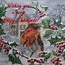 Robin in Snow Christmas Card by EuniceWilkie