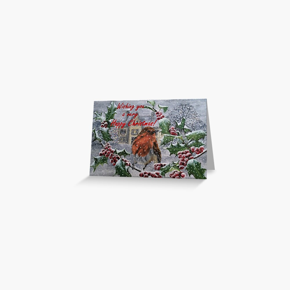 Robin in Snow Christmas Card Greeting Card
