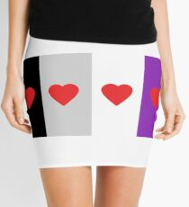 HETEROROMANTIC LOVE HEARTS ASEXUAL FLAG ASEXUAL T-SHIRT Mini Skirt