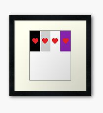 HETEROROMANTIC LOVE HEARTS ASEXUAL FLAG ASEXUAL T-SHIRT Framed Print