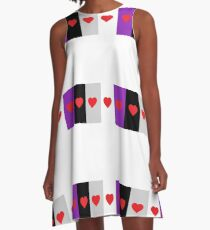 HETEROROMANTIC LOVE HEARTS ASEXUAL FLAG ASEXUAL T-SHIRT A-Line Dress