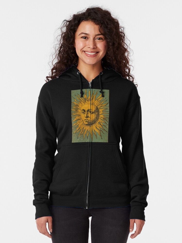 Alternate view of Vintage Sun Tarot Zipped Hoodie