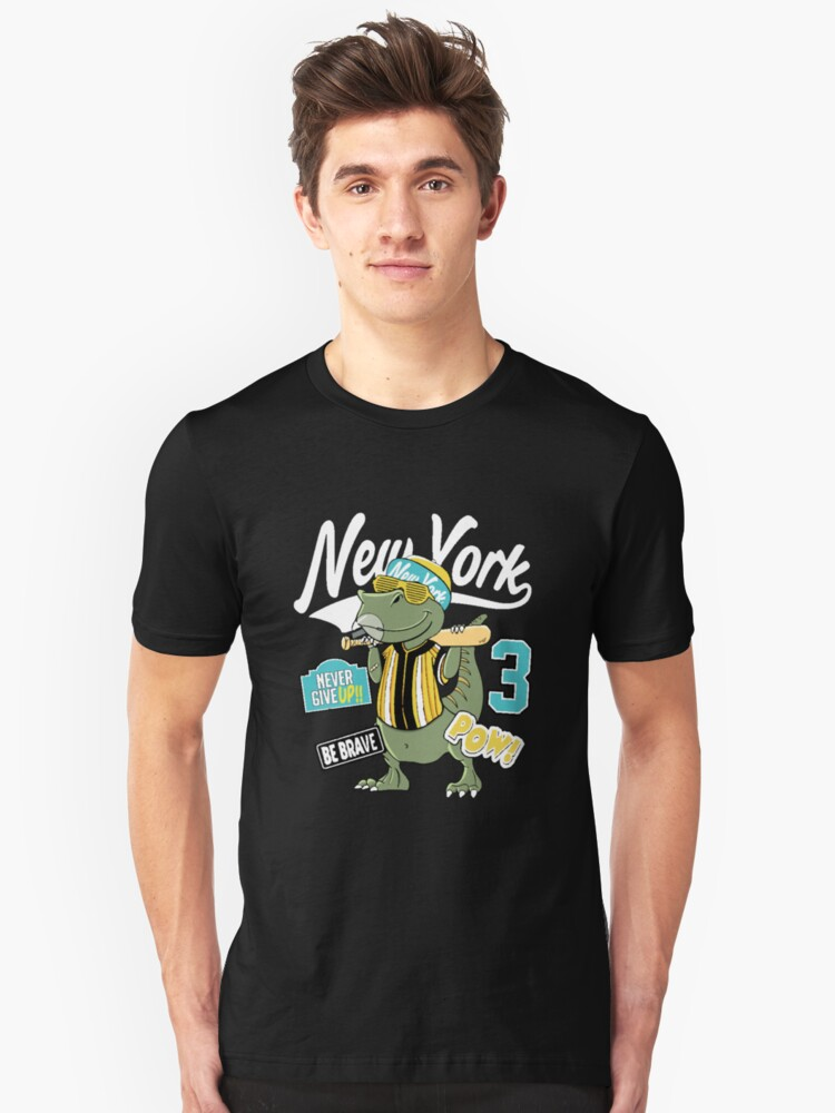Cool Dinosaur,never give up Unisex T-Shirt Front