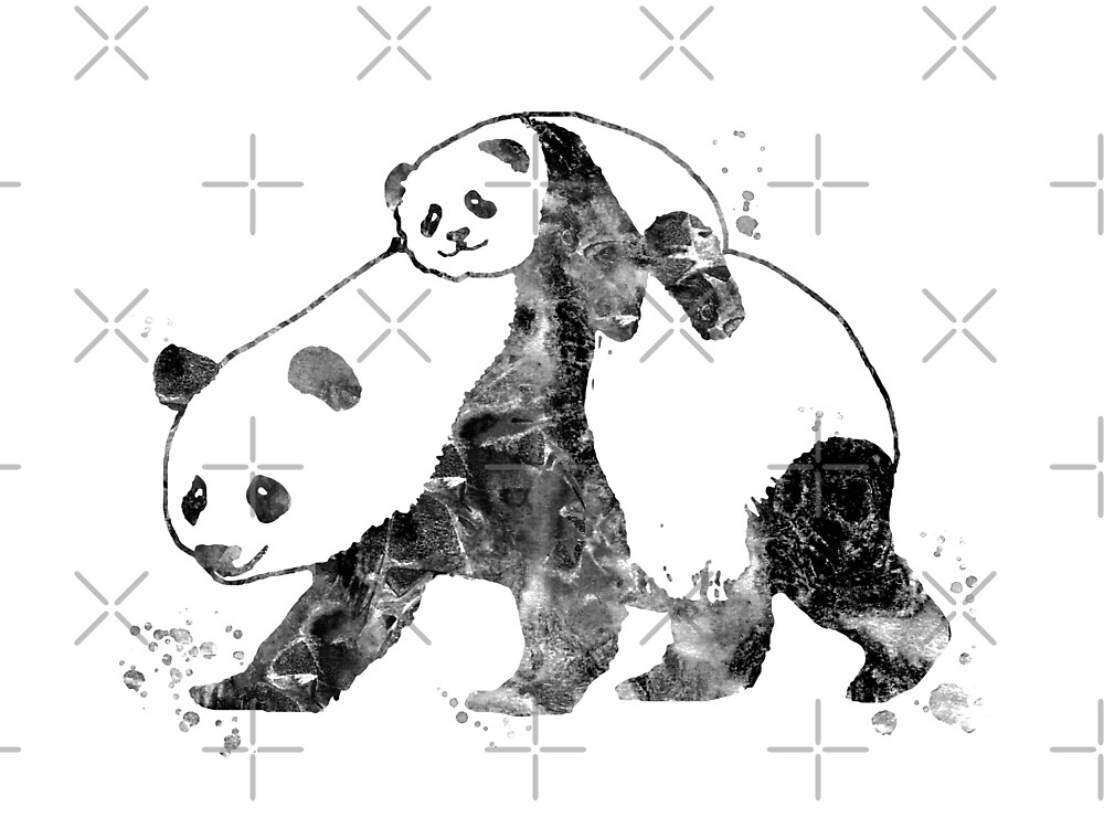 Panda with panda on the back, Panda family, Panda by Rosaliartbook