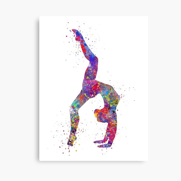 Gymnastics girl, watercolor gymnastics, teen gift, gymnastics wall art Canvas Print